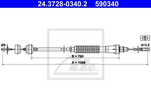 Ate Koppelingskabel 24.3728-0340.2